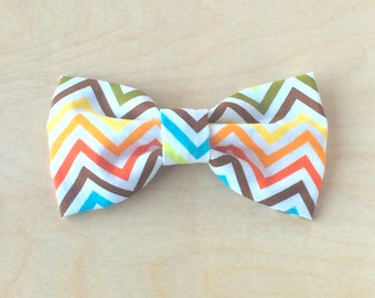 Clip on bow tie, for men, boys or toddlers - Rainbow Chevron