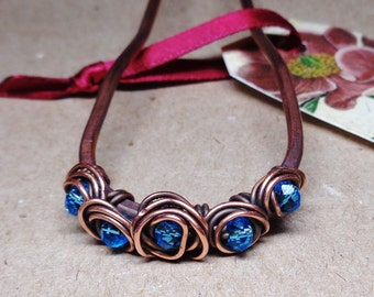 Copper Hair Fork - Metal Hair Pin with Light Blue Beads - Hair Bun Holder - Hair Comb - Hair Accessories - Mothers Day Gift - Gift for Mom