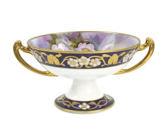 Handpainted Noritake Bowl - Centerpiece Bowl, Pedestal Bowl, Cobalt with Gold Moriage, Morimura Bros. Japan, c.1920s