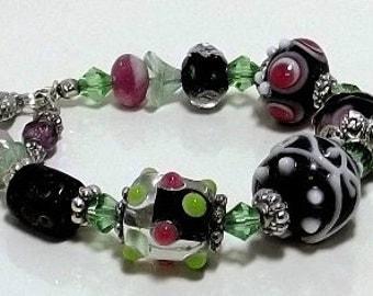 Pink,Black, Green Lampwork Bracelet