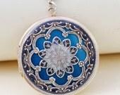 Locket, Silver Locket,Jewelry Gift,Pendant,Blue Locket,filigree locket necklace, vintage style locket,Wedding Necklace,bridesmaid necklace