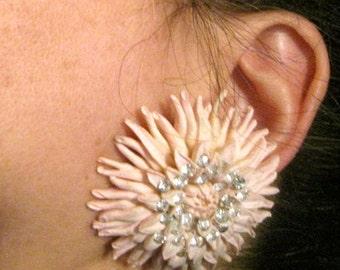 Gigantic Vintage Clip On Earrings - Rhinestones and Pink Composite