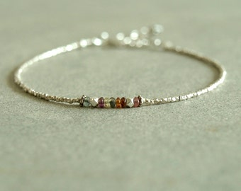 Sapphire Silver Bracelet, small bead bracelet, multi colored sapphires, sterling silver, smooth tiny gemstones, genuine sapphire jewelry