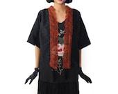 Retro Oriental Kimono Jacket Black Orange Tassel Cardigan Boho festival cape wrap flapper jacket short Batwing outerwear Spring Summer