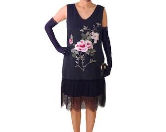 Black Flapper Dress Costume 1920s Roaring 20s Kimono Black