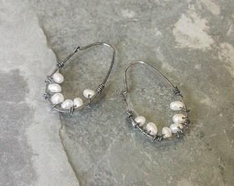 Pearl Earrings, Silver Pearl Earrings, Silver Pearl Hoop Earrings, Silver Pearl Hoop, Pearl Hoop, Pearl Hoop Earrings