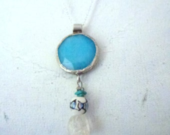 blue jade and sterling silver pendant - clear crystal- hand painted ceramic fish bead