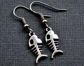 Silver Bone Fish . Earrings