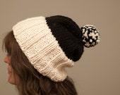 Slouchy ski hat knit pattern, knitting pdf, pom pom