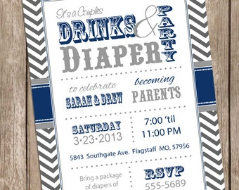Couples baby shower invitation, Drinks and Diaper Navy co-ed baby shower invitation, couples diaper shower invitation, printable invite DD02