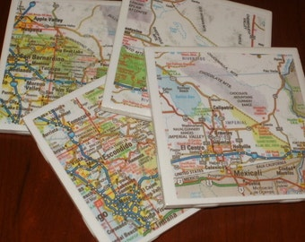 Map Coasters - Palm Springs Area Road Map Coasters...Set of 4...For Drinks and Candles