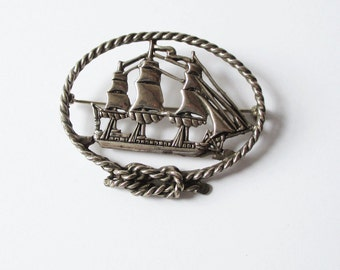 Sterling Silver Ship Pin Vintage deMatteo Sterling Tall Ship Pin