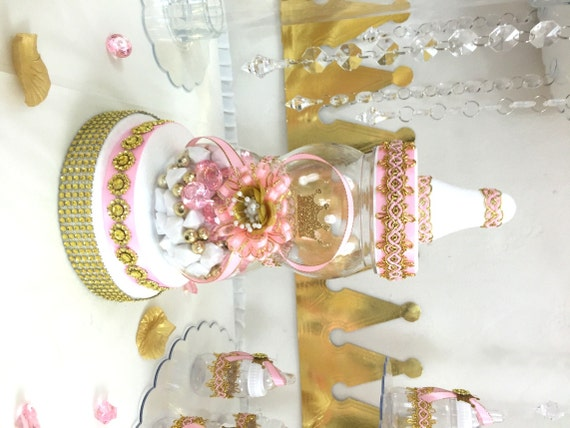 Pink And Gold Baby Shower Centerpiece For Girls Princess Baby