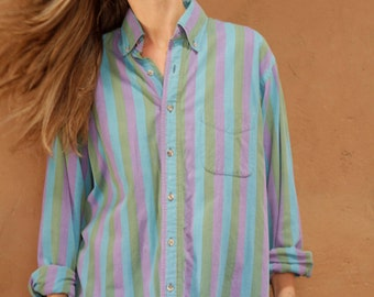 vintage 90s striped nirvana seattle women's OXFORD striped pocket BUTTON up classic shirt