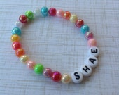 Beaded Name Bracelet-6mm Multicolor AB Shimmer-Any Name-Any Word-Any Phrase-Stackable Bracelet
