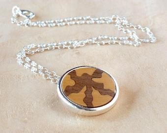 Fashion necklace, Ecofriendly jewelry, Pendant Wood inlay, Wooden jewelry, Wooden necklace, Pendant necklace, Silver necklace, Jewelry women