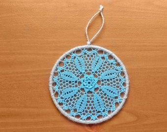5 inch Dream Catcher Top, Crochet Doily Medallion, Blue Hand Dyed Doily in a Wrapped 5 inch Steel Hoop, Crochet Mandala, Boho Decor