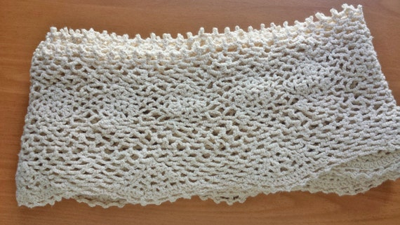Beige Ecru Hand Crocheted Trim, 85 x 54 inches