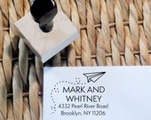 Personalized Custom Return Address Stationery Invitation Rubber Stamp or Self Inking - Paper Airplane - Home Sweet Home