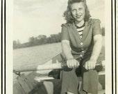 "Vintage Photo ""Rowing the Summer Away"" Girl Lake Boat Snapshot Antique Photo Black & White Photograph Found Paper Ephemera Vernacular - 119"