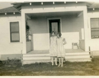 "Vintage Photo ""Two Girls and the Boarding House"" Snapshot Old Antique Photo Black & White Photograph Found Paper Ephemera Vernacular - 66"
