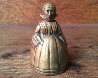 Vintage Welsh bell brass metal decor woman circa 1950-60's / English Shop