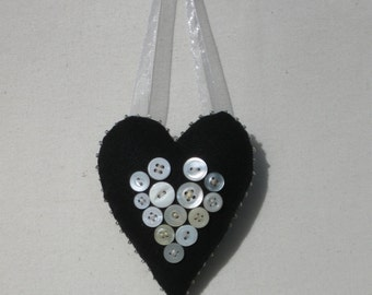 Personalized keepsake heart ornament with vintage buttons and photo charm