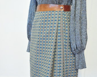 Vintage Italian Mod Wool Checkered Scooter Skirt