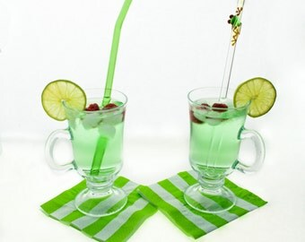 Tree Frog on Bent Glass Straw and Green Bent Glass Straw Set- Gift Set- FREE Cleaning Brush- FREE Gift Wrap- Glass Drinking Straws