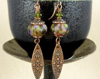 Purple Earrings, Copper Earrings, Lampwork Earrings, Artisan Metal Clay Marquise Earrings, Boho Chic Artisan Earrings, Purple and Green