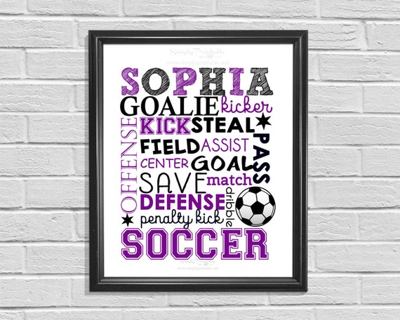 Soccer Wall Print, Personalized Purple Soccer Subway Art, Typography, Soccer Player