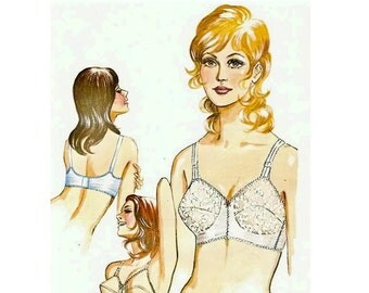 1960s Classic Bra Pattern, Curved Cups Bra, Adjustable Straps, Bust 34 A B C D, Sew-Knit-N-Stretch 219 Vintage Sewing Pattern