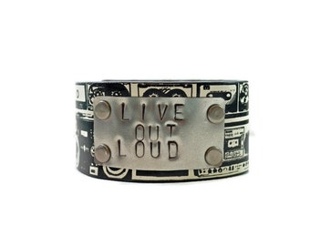 Fun Faux Leather Cuff with Images of Old School Stereos and Hand Stamped Live Out Loud in Metal