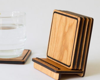 Wooden Coaster Set - Natural