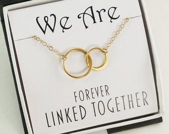 Circles Necklace / Bridesmaid Gift Interlocking Sterling Silver or Gold / Two Circle Three Circle MOM Wedding Jewelry Bridesmaid Birthday