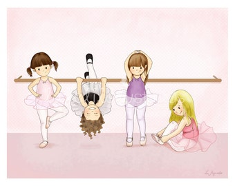 BALLERINAS  - Children's Wall Art Print - Kids Decor - Wall Art Illustration - Girl's nursery