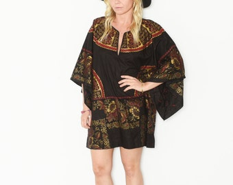 Vintage Ethnic Tunic Dress , Dashiki Caftan