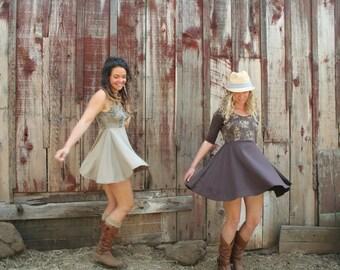 Mushroom Screen Printed Skater Circle Skirt Dress Soy Organic Cotton Spandex Tan USA Made New