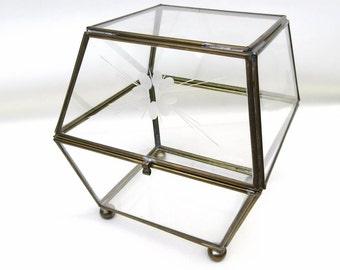 Vintage Glass Brass Box | Display Box | Dome Box | Terrarium | Etched Glass | Treasure Box