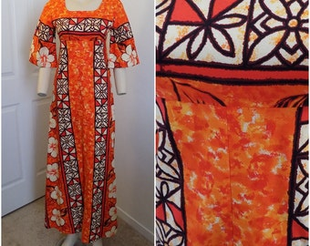 Vintage Vibrant Bark Cloth Hawaiian Print Maxi Dress By Ui Maikai