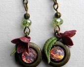 Locket Earrings, Locket Jewelry, Opal Locket Earrings, Opal Earrings, Tiny Locket Earrings