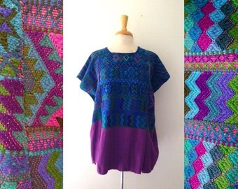 Vintage hand woven Guatemalan embroidered HUIPIL tunic top, free size