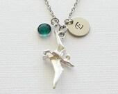 Dinosaur Pewter Necklace Pterodactyl 3D Charm Flying Bird Jewelry Swarovski Birthstone Silver Initial Personalized Monogram Hand Stamped