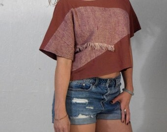 Raggedy Ann - Boxy Muave Crop Top with Abstract Color Block and Fringe Detail Womens Size Medium