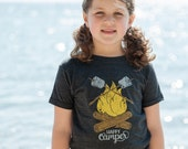 Happy Camper Vintage Kids T-Shirt. Unisex Grey Black Toddler Triblend Tee with campfire and marshmallows. Celebrates Wilderness.