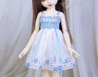 Light blue & ecru turquoise dress for TINY bjd LittleFee Momocolor 29, Saintbloom
