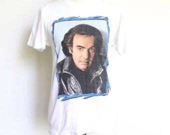 Vintage Neil Diamond Tour Tshirt Small // 80s Rock Tour Shirt White Made in USA Thin