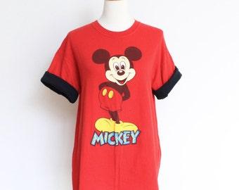 Vintage Mickey Mouse Tee T Shirt // Disney World Red Medium // 1990s shirt