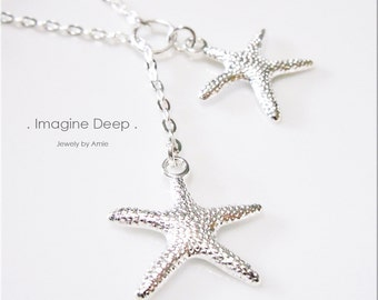 Silver Starfish Lariat Y Necklace Silver Plated Stars Silver Starfish Necklace Mermaid Beach Necklace 50% off SPECIAL