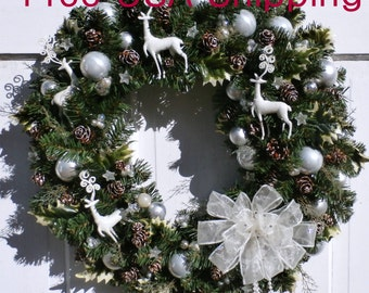 "Swarovski Elements Bow Winter White Reindeer Wreath-24"" FREE SHIPPING US Only+ Free Wreath Hanger"
